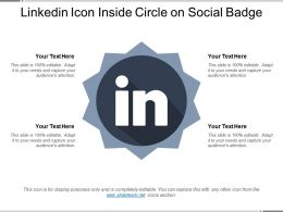 Linkedin Icon Inside Circle On Social Badge