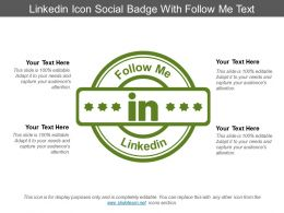 Linkedin Icon Social Badge With Follow Me Text