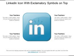 Linkedin Icon With Exclamatory Symbols On Top