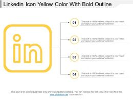 Linkedin Icon Yellow Color With Bold Outline