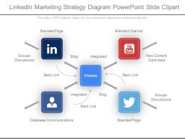 Linkedin Marketing Strategy Diagram Powerpoint Slide Clipart