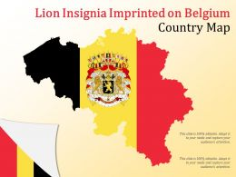 Lion Insignia Imprinted On Belgium Country Map