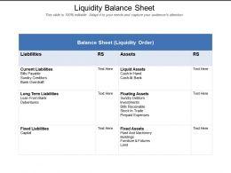 Liquidity Balance Sheet
