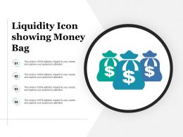 Liquidity Icon Showing Money Bag