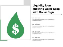 Liquidity Icon Showing Water Drop With Dollar Sign