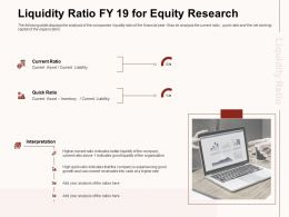 Liquidity Ratio FY 19 For Equity Research Better Liquidity Ppt Powerpoint Presentation File Introduction