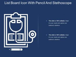 List Board Icon With Pencil And Stethoscope