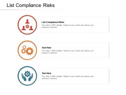 List Compliance Risks Ppt Powerpoint Presentation Professional Gallery Cpb