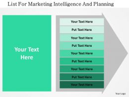 List For Marketing Intelligence And Planning Flat Powerpoint Design