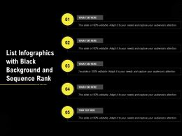 List Infographics With Black Background And Sequence Rank