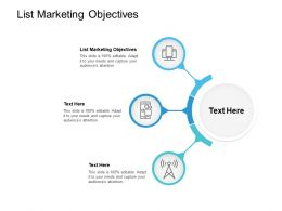 List Marketing Objectives Ppt Powerpoint Presentation Gallery Gridlines Cpb