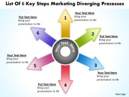 list of 6 key steps marketing diverging processes Radial Chart PowerPoint templates
