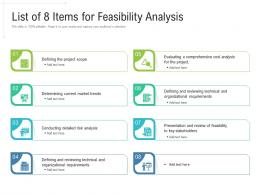 List Of 8 Items For Feasibility Analysis