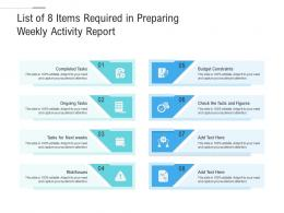 List Of 8 Items Required In Preparing Weekly Activity Report