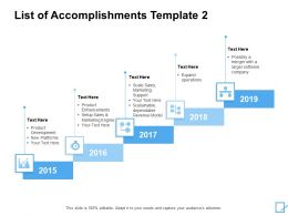 List Of Accomplishments Template 2015 To 2019 Ppt Powerpoint Slides