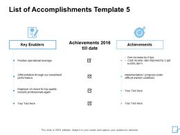 List Of Accomplishments Template Achievements Ppt Powerpoint Slides