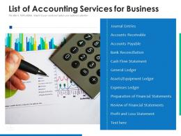 List Of Accounting Services For Business