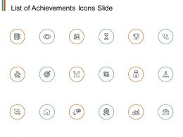List Of Achievements Icons Slide Ppt Powerpoint Presentation File Files