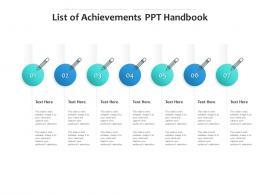 List Of Achievements PPT Handbook Infographic Template