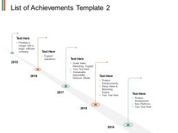 List Of Achievements Roadmap Timeline E322 Ppt Powerpoint Presentation File Slide