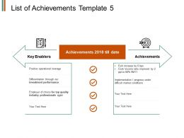 List Of Achievements Template Ppt Powerpoint Presentation File Visuals