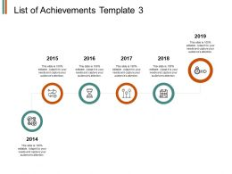 List Of Achievements Timeline 2015 To 2019 Ppt Powerpoint Presentation File Slides