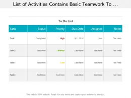 List Of Activities Contains Basic Teamwork To Do Tasks