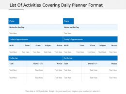 List Of Activities Covering Daily Planner Format