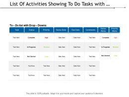 List Of Activities Showing To Do Tasks With Drop And Downs