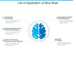 List Of Application Of Blue Brain