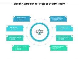 List Of Approach For Project Dream Team