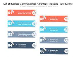 List Of Business Communication Advantages Including Team Building
