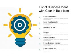 List Of Business Ideas With Gear In Bulb Icon
