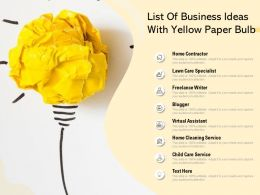 List Of Business Ideas With Yellow Paper Bulb