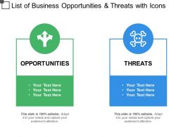 List Of Business Opportunities And Threats With Icons