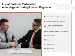 List Of Business Partnership Advantages Including Limited Regulation