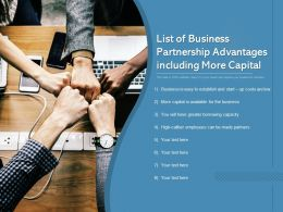 List Of Business Partnership Advantages Including More Capital