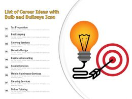 List Of Career Ideas With Bulb And Bullseye Icon