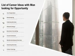 List Of Career Ideas With Man Looking For Opportunity