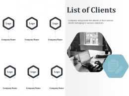 List Of Clients Various Industries Details Ppt Powerpoint Presentation Structure