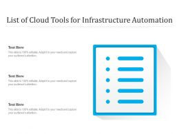 List Of Cloud Tools For Infrastructure Automation