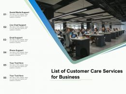 List Of Customer Care Services For Business