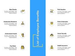 List Of Employee Benefits Achievement Ppt Powerpoint Presentation Outline Ideas
