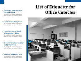 List Of Etiquette For Office Cubicles
