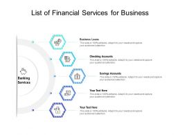 List Of Financial Services For Business