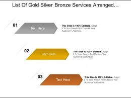 List Of Gold Silver Bronze Services Arranged In Horizontal Manner