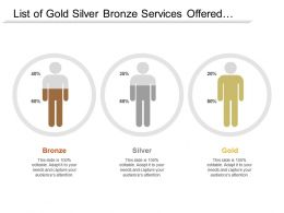 List Of Gold Silver Bronze Services Offered To Customer With Satisfaction Level Associated To Each Category