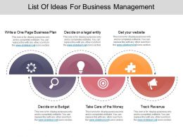 List Of Ideas For Business Management Ppt Icon