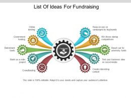 List Of Ideas For Fundraising Ppt Infographic Template