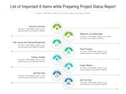 List Of Important 8 Items While Preparing Project Status Report